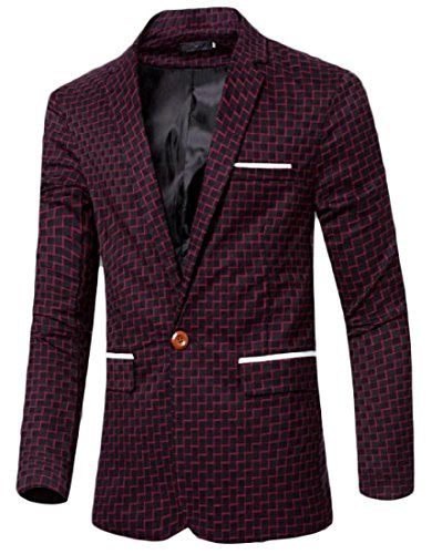 Zimaes-Men Stripe Cut Out Delicate Stand Collar Suit Jacket Blazer Red XL