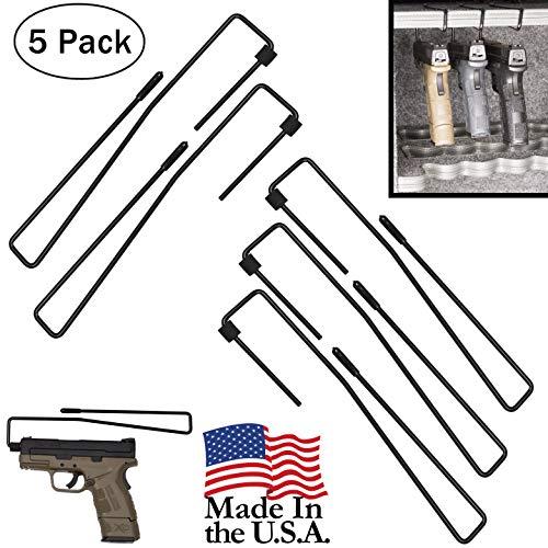 Hold Up Displays Pistol Hanger Gun Safe Shelf or Bookshelf Mounted Handgun Storage, HD84 Black (5 Pack)