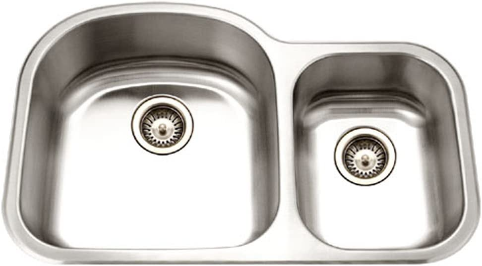 Houzer MC-3210SR-1 Medallion Designer Series Undermount Stainless Steel 70 30 Double Bowl Kitchen Sink, Small Bowl Right