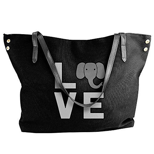 Large Shoulder Love Bag Tote Women's Handbag Canvas Elephant Black Hand Pqw5XRH