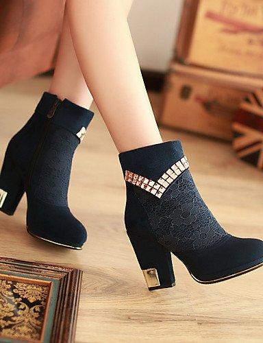 Botas 5 Redonda La Vellón Tacón Mujer Zapatos Xzz Uk6 us8 Blue 5 Azul Vestido Cn39 Moda Punta Eu38 De Robusto us7 Blue Uk5 Cn38 A Eu39 Negro qzn07B