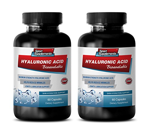 Joint Support with hyaluronic Acid - HYALURONIC Acid BIO-Available - Skin Hydration Support - hyaluronic Acid for Joints Skin & Eyes - 2 Bottles 120 Capsules by Sport Supplements