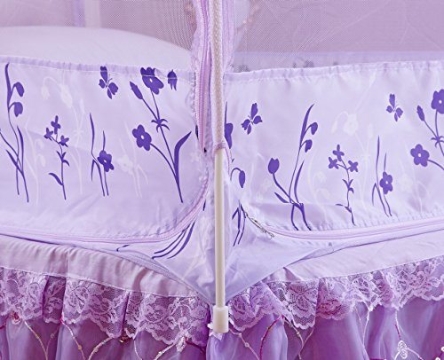 RuiHome 3-Doors Style Bed Mosquito Net Tent with Floor Home Bedroom Anti-bites Insect Mesh Netting (47''x79''x67'', Purple) by RuiHome (Image #5)
