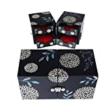 Ruby Mother of Pearl Jewelry Box, Twin Cube Wood Trinket Organize, Black, 5.7'' x 2.8'' x 2.9''
