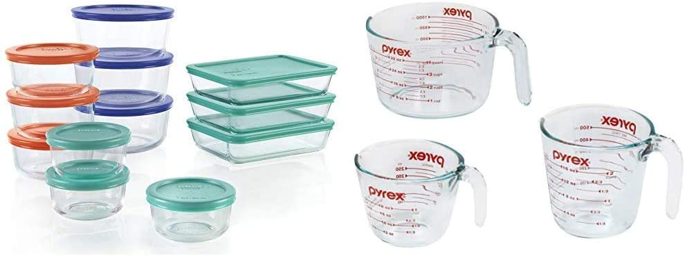 Pyrex Simply Store Meal Prep Glass Food Storage Containers (24-Piece Set, BPA Free Lids, Oven Safe) & Glass Measuring Cup Set (3-Piece, Microwave and Oven Safe),Clear
