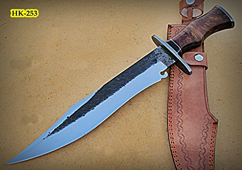 REG-HK-253 B, Handmade High Carbon Steel 17.2 inch Hunting Knife – Beautiful Rose Wood Handle with Damascus Steel Guard