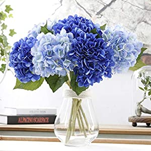 LNHOMY Artificial Silk Flowers French Fake Beautiful Hydrangea Bunch Bouquet Flower for Home Wedding Decor Pack of 4, Blue 3