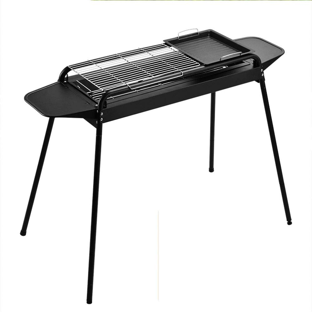 Zr Independent Carbon Trough Assembled Adjustable Grill, Home Grill for More Than 5 People Outdoor Wild Charcoal BBQ Grill, Black