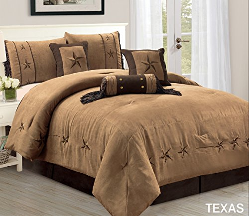 7 Piece Luxury WESTERN Bedding - Oversize QUEEN size TEXAS Micro Suede Comforter Set - Taupe / Brown Lone Star ()
