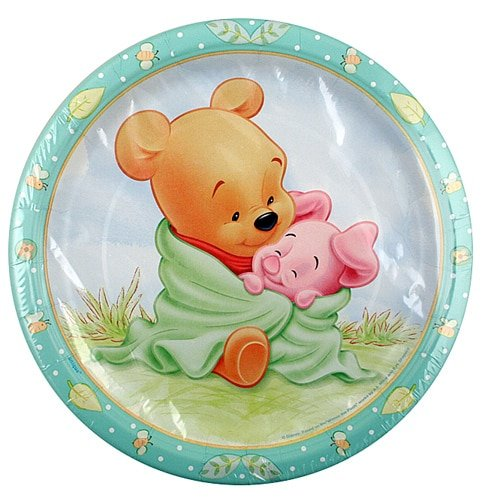 Winnie the Pooh Baby Shower Plates [9 inches - 8 Per Pack] (Winnie The Pooh Baby Shower)