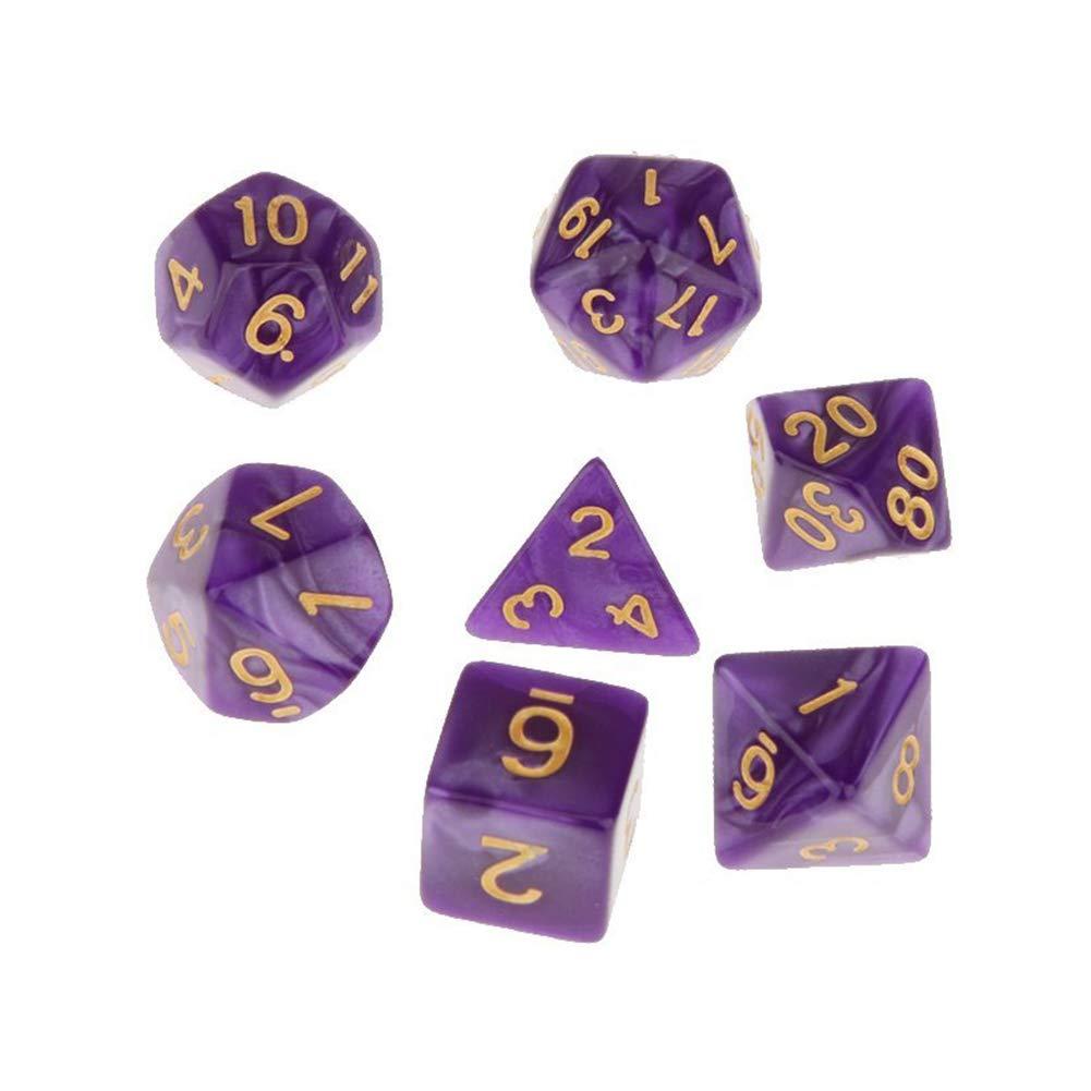 Purple NiceButy PCS 7 Multi-seitig Dice D4-D20 W/ürfelt Set Acryl Mini w/ürfelt f/ür Trpg Spiele Dungeons and Dragon