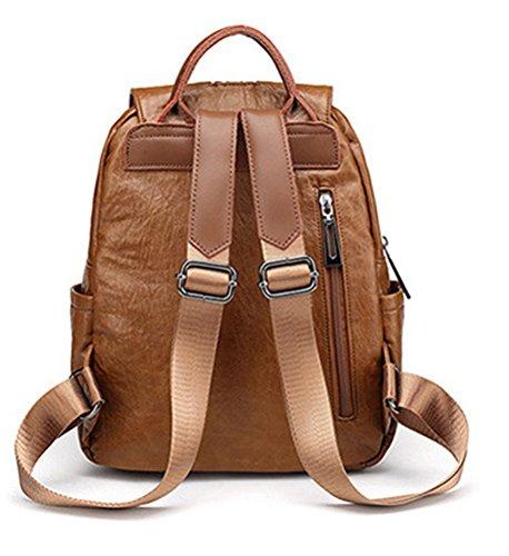 Brown Zipper Genuine wanture Shoulder Backpack Fashion Leather Women Closure Female for Daypack Handbags IC47wax