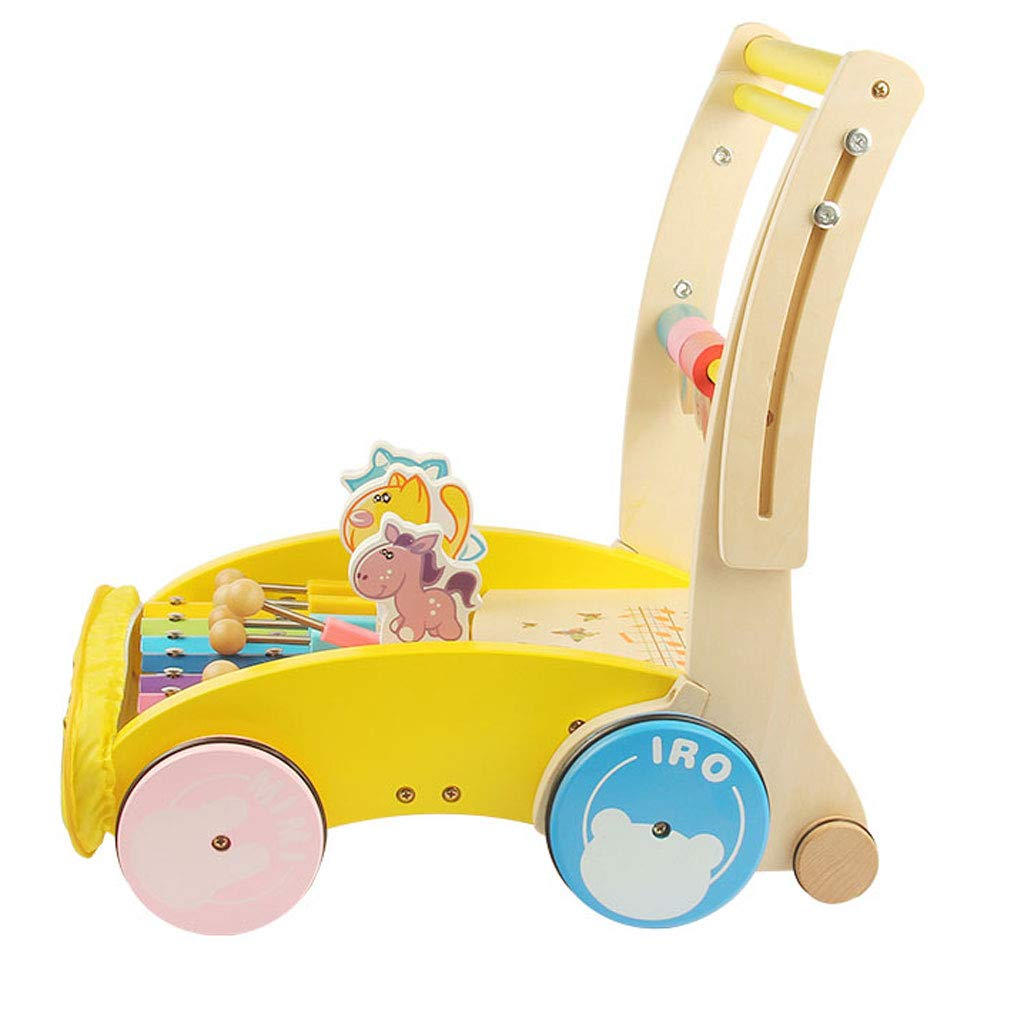 Brain Game Wooden Walker Foldable Height Adjustable Multifunction Baby (Color : A)