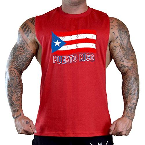 Men's Grunge Puerto Rico Flag Tee Red Gym T-Shirt Tank Top Large Red