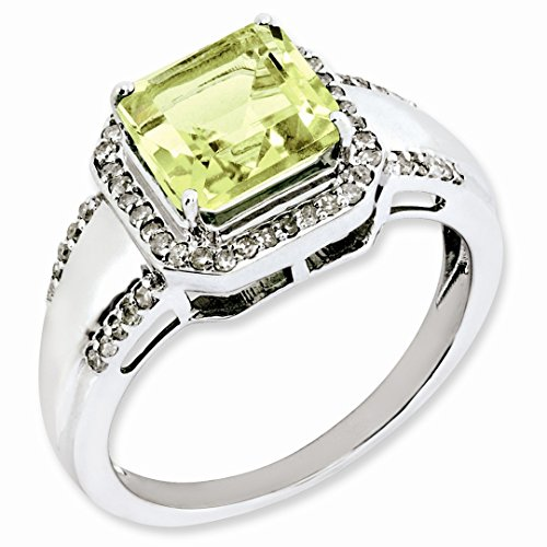 925 Sterling Silver Square Diamond Lemon Quartz Band Ring Size 7.00 Gemstone Fine Jewelry For Women Gift Set