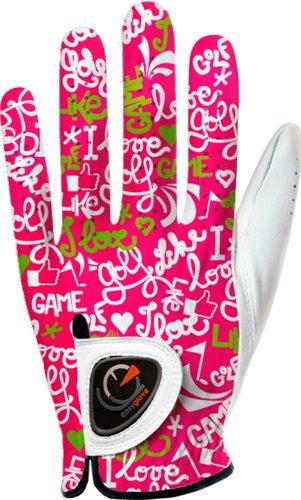 easyglove Fashion_Love-Golf-Pink-W Women's Golf Glove (White), Medium, Worn on Left Hand