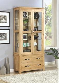 exeter solid oak dining room furniture glass display cabinet cupboard unit camberley oak 2 door
