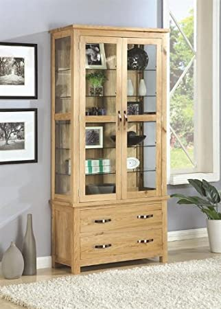 Exeter Solid Oak Dining Room Furniture Glass Display Cabinet Cupboard Unit