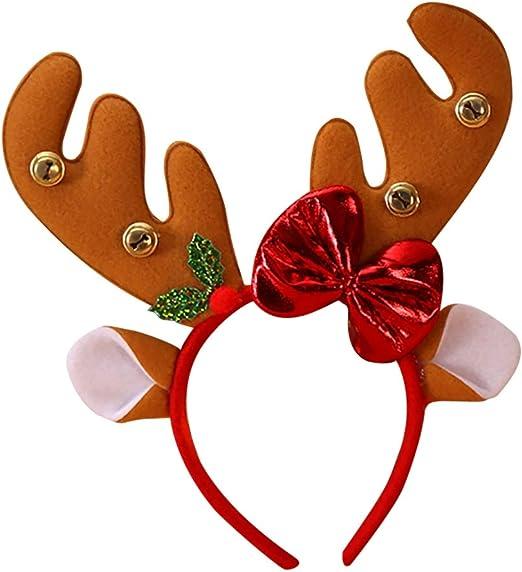 Yalatan Diadema de asta de reno navideño para niños, Rudolph Nose ...