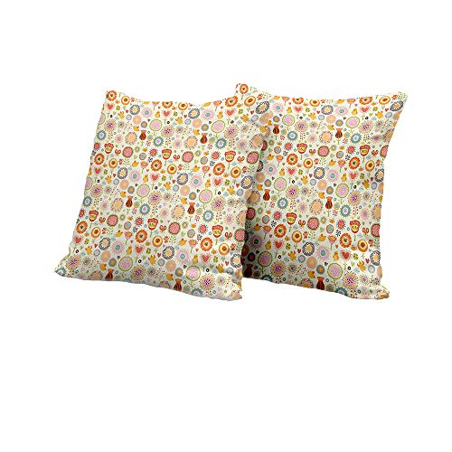 All of better Chaise Lounge Cushion Cover Kids,Retro Ornate Flowers in Drawing Style Little Hearts Cute Singing Birds Lovely Garden,Multicolor Floral Pillow Covers 24x24 INCH - Mlp Seating