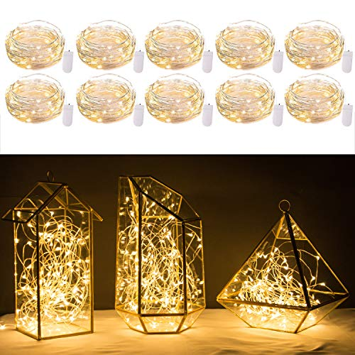 10 Pack Fairy Lights 7 Feet 20 LED Firefly Lights Battery Operated String Lights Copper Wire Starry Moon Lights for DIY Wedding Bedroom Indoor Party Decoration (Warm White) (Floral Lights Led Arrangements)