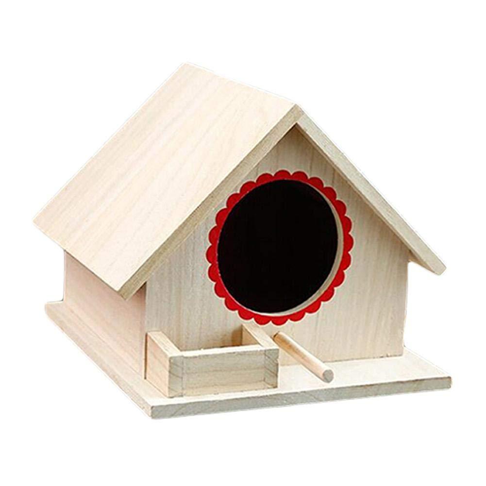 Casetta per Uccelli in Legno in Legno Naturale a Forma di Pappagallo sospeso Creativa Nido duccello Grandnessry per Fai-da-Te