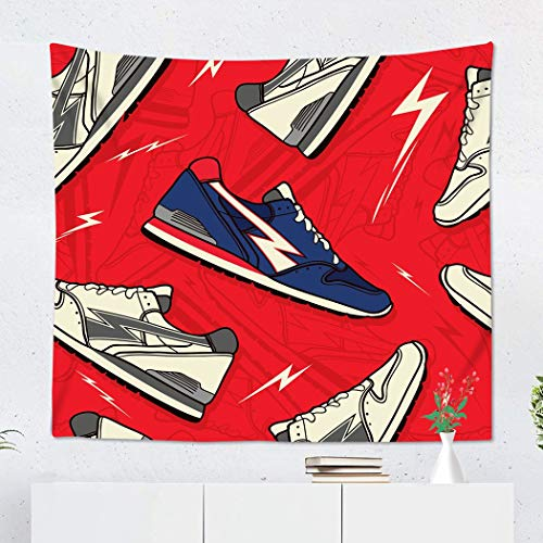 Suklly Tapestry Wall Hanging Polyester Colorful Athlete Classic Runner Trainer Sneakers Shoes Pattern Home Decor Living Room Bedroom Dorm 50 x 60 inches Picnic Mat Beach Towel]()