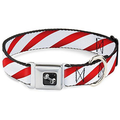 Buckle-Down Seatbelt Buckle Dog Collar - Candy Cane - 1