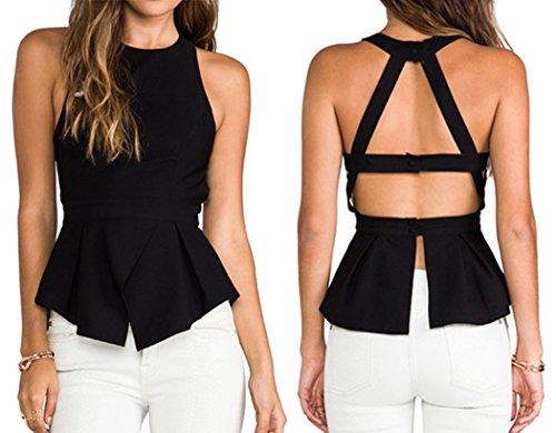 Women Summer Sexy Tank Top Open Back Sleeveless Shirt Tops Vest Blouse