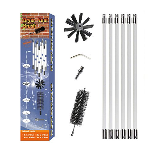 20ft Dryer Duct Cleaning Kit - NO STUCK No Loose New Design Dryer Vent Lint Brush with Flexible Nylon Rods Extend