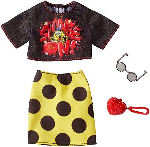 Barbie SpongeBob Black Top and Yellow Polka Dot Skirt Fashion Pack -