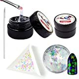 QIMYAR Super Sticky Nail Art Rhinestone Glue Adhesive Builder UV Gel Tip Manicure Decoration Two Boxes 8ml Gel With 2 Painting Pen 1 Box Glitter Sequins