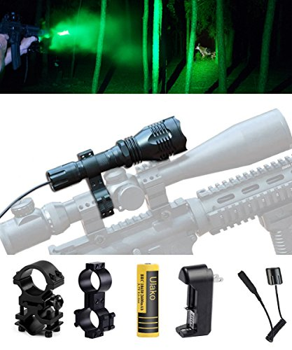 Ulako Green Light Tactical Flashlight 250 Yards Range with Scope Sight Mount for Coyote Hog Pig Varmint Predator Hunting (Green Flashlight Mount)