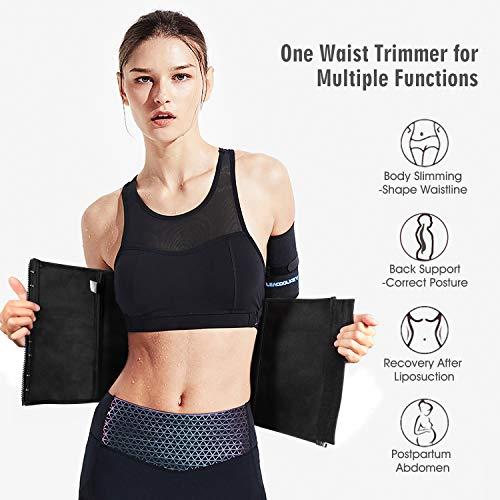 LEACOOLKEY Waist Trimmer for Women/Men-Sweat Waist Cincher Trainer Belt-Shaper Body Slimming Waist/Belly Band for Pregnancy(Black M)