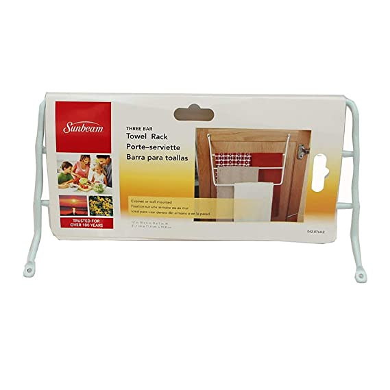 Amazon.com: Sunbeam 3 Arm Towel Rack Wall or Cabinet Mounted Bars, White | SBK00424: Home & Kitchen