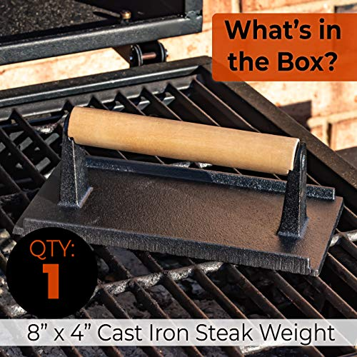 Textured Cast Iron Grill Weight. Perfect Meat Press for Bacon, Steak, Burgers, Chicken and Paninis. Great Accessory for Flat Tops, Griddles, Grills, Ovens or Skillets for Restaurant Quality Food.