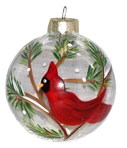 ArtisanStreet's Red Cardinal Ornament. Hand Painted Glass Ball. Made to Order - Cardinals Hand Painted Ball Ornament