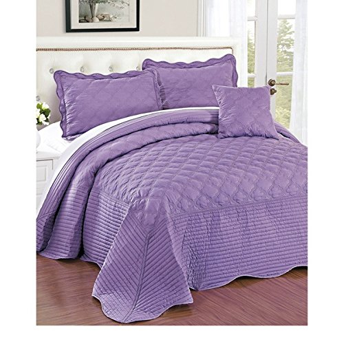 4 Piece 120 X 120 Light Purple Oversized Bedspread King To The Floor Set, Extra Long Quilt Bedding Drops Over Edge Bed Hangs Side Frame Wide Large French Country Classic, Quatrefoil Cotton Polyester by D&H