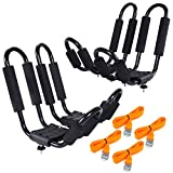 Protek 2 Pair J Shape Bar 150 Lbs Kayak Canoe Inflatable Stand Up Paddle Board Surfboard Wakeboard Roof Rack Carrier Car SUV Roof Top Mount with 8 Ft Lashing Straps Tie Down Ratchet