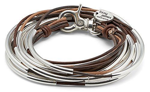 Lizzy Too Silverplated 5 Strand Tri Color Brown Leather Wrap Bracelet (Medium (6 1/4