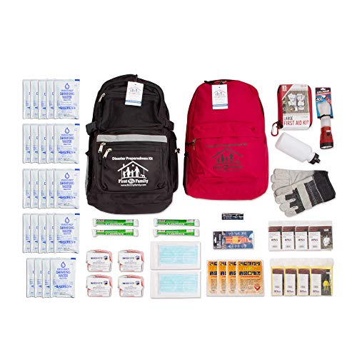 First My Family 4FKIT All-in-One 4-Person Premium Disaster Preparedness Survival Kit with 72 Hours of Survival and First-Aid Supplies 4PKIT
