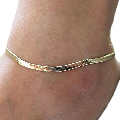 Hosaire Girl's Metal Fine Fish Scales Chain Ankle Silver Link Anklet Bracelet Barefoot Sandal Beach Wedding Foot Jewelry Golden