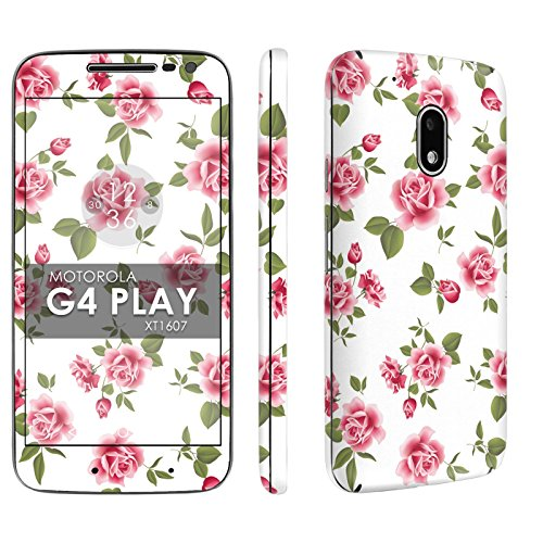 (Moto [G4 Play] Phone Skin - [SkinGuardz] Full Body Scratch Proof Vinyl Decal Sticker with [WallPaper] - [White Rose Garden] for Motorola Moto G Play [4th Gen])