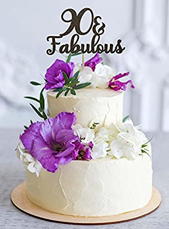 90 And Fabulous Cake Topper 90th Birthday Decoration Milestone Gold