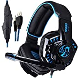 [Updated Vesion]NOSWER I8S Stereo Wired PC Gaming Headset Over Ear LED Light 3.5mm Headphones with Microphone for Mac PS4 MP3 MP4 Laptop Computer EMMETTS