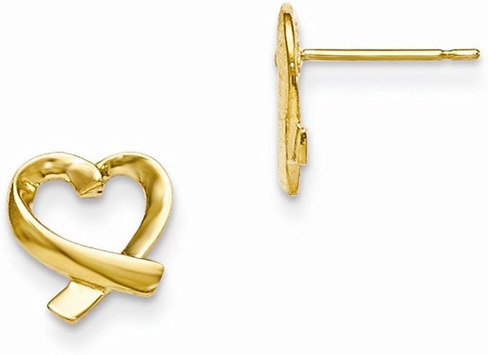 Mia Diamonds 14k Yellow Gold Madi K Hearts Post Earrings