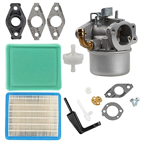 Hilom 591299 Carburetor with Spacer Air Fuel Filter for Briggs Stratton 698474 791991 698810 698857 Lawn Mower& Craftsman Tiller Intek 190 6 HP 206 5.5hp Engine - 6 Hp Intek Briggs Engine