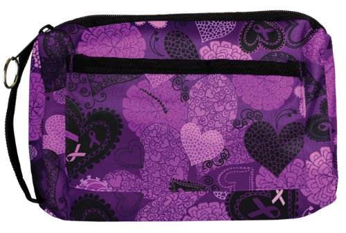 Prestige Medical Compact Carry Case, Ribbons and Hearts Purple