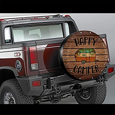 Tire Cover Happy Camper Camping Portable Polyester Universal Spare Wheel Tire Cover Wheel Covers for Jeep Trailer RV SUV Truck Camper Travel Trailer Accessories 15 Inch: Automotive