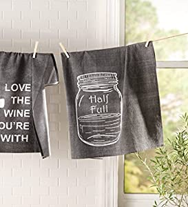 100% Cotton Extra Large Chalkboard Kitchen Towels - Soft and Absorbant - Fun Sayings - Made in India - Machine Washable - Unique Kitchen Accessories - 28'' Square